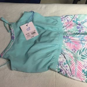 NWT More than Magic romper teal pink easy care